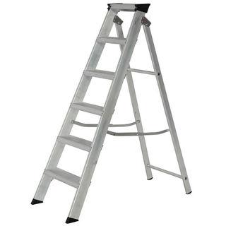 Aluminium Heavy Duty Builders Step Ladder 6 Thread